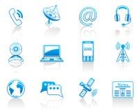 Communicatie blauwe pictogramreeks Stock Illustratie