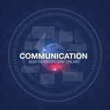 Communicatie concept in HUD-stijl Het woord` communicatie ` HUD ontwerp met toespraak Stock Afbeeldingen