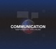 Communicatie concept in HUD-stijl Het woord` communicatie ` HUD ontwerp met toespraak Absrtract vectorillustratie Royalty-vrije Stock Foto's