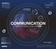 Communicatie concept in HUD-stijl Het woord` communicatie ` HUD ontwerp met toespraak Absrtract vectorillustratie Royalty-vrije Stock Afbeeldingen