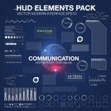 Communicatie concept in HUD-stijl Het woord` communicatie ` HUD ontwerp met toespraak Absrtract vectorillustratie Stock Fotografie