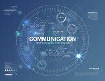 Communicatie concept in HUD-stijl Het woord` communicatie ` HUD ontwerp met toespraak Absrtract vectorillustratie Stock Afbeelding
