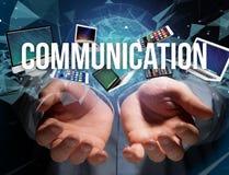 Communicatie die titel door apparaat zoals smartphone, tablet wordt omringd royalty-vrije stock afbeeldingen