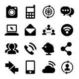 Communicatie en Internet-Geplaatste Pictogrammen Vector Royalty-vrije Stock Foto