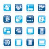 Communicatie en technologiemateriaalpictogrammen Stock Foto's