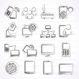 Communicatie en technologiemateriaalpictogrammen Stock Foto