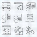 Communicatie en van de Webdienst geplaatste pictogrammen Stock Fotografie