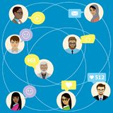 Communicatie en zo het babbelen tussen mensen of beambte in vector illustratie