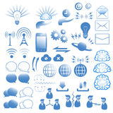 Communicatie geplaatste pictogrammen Stock Fotografie