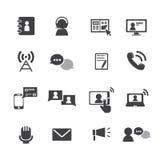 Communicatie geplaatste pictogrammen Stock Afbeelding