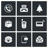 Communicatie geplaatste pictogrammen Stock Foto