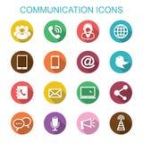 Communicatie lange schaduwpictogrammen Stock Afbeeldingen