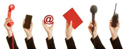 Communicatie met de klantendienst als concept royalty-vrije stock afbeelding