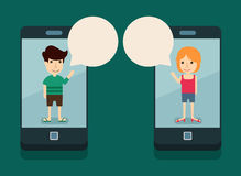 Communicatie met smartphone royalty-vrije illustratie