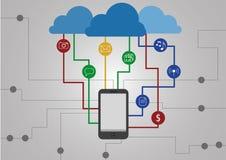 Communicatie met wolk Royalty-vrije Stock Afbeeldingen