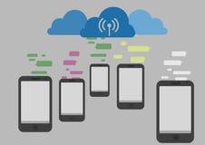 Communicatie met wolk Stock Afbeelding