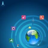 Communicatie pictogram rond Aarde Royalty-vrije Stock Foto
