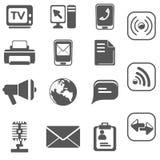 Communicatie pictogram vastgestelde zwarte Royalty-vrije Stock Afbeelding