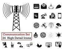 24 communicatie Pictogrammen Royalty-vrije Stock Foto's
