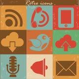 Communicatie pictogrammen, Retro stijl Stock Foto's
