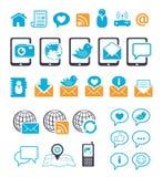 Communicatie pictogrammen voor mobiel e-mailpraatje Stock Foto's