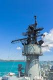 Communicatie toren op het slagschip Stock Afbeelding
