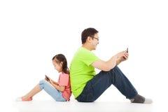 Communicatie tussen vader en kind royalty-vrije stock foto