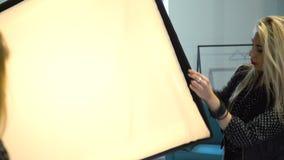 Communicatie van de coulissefotografie instructie stock video