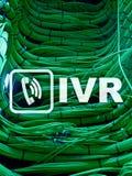 Communicatie van de de stemreactie van IVR Interactief concept Serverruimte stock foto