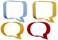 Communicatie van de toespraakbellen van het lint geplaatste pictogrammen Royalty-vrije Stock Afbeeldingen