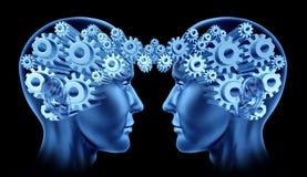 Communicatie van hersenen hoofdvoorzien van een netwerk Stock Foto's