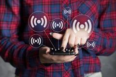 Communicatie van het de interfaceweb van bedrijfsknoopwifi smartphone Royalty-vrije Stock Afbeelding