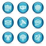Communicatie Webpictogrammen, blauwe glanzende gebiedreeks vector illustratie