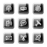 Communicatie Webpictogrammen, glanzende knopenreeks vector illustratie