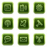 Communicatie Webpictogrammen, groene vierkante knopen Royalty-vrije Stock Foto's
