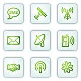 Communicatie Webpictogrammen, witte vierkante knopen Royalty-vrije Stock Foto