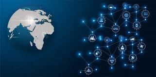 Communicatienetwerk rond Aarde voor internationale verbindingen wereldwijd voor financiën, bankwezen, Internet, I wordt gebruikt  stock illustratie