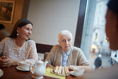 Communicating in cafe. Mature women having snack and communicating in cafe Stock Photo