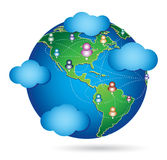 Social planet. Global communications of international community Stock Image