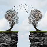 Communicating From Distance. As two trees shaped as a human head with birds in transit across cliffs as a business metaphor for commerce reach with 3D Stock Photo