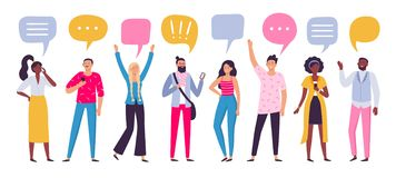 Free Communicating People. Chat Dialog Communication, Smartphone Call Talking Or Speaking People Group Vector Illustration Royalty Free Stock Photo - 154419385
