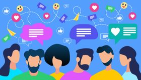 Communicating People Crowd with Speech Bubble stock illustration