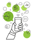 Communicating via modern smartphone Stock Photos