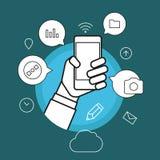 Communicating via modern smartphone Royalty Free Stock Photography