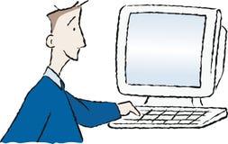 Communication 1. Man at a computer keyboard Stock Photo