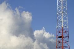 Communication. Telecommunication tower over a beautiful afternoon sky Stock Photo