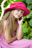 Communication. Girl spealing on cell phone Royalty Free Stock Images