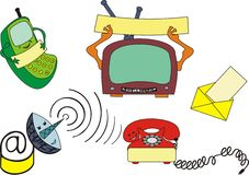 Communication. Several modern communication devices on a A3 paper, cartoon style vector illustration