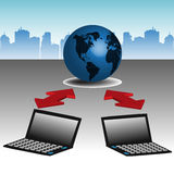 Communication. Abstract colorful design with two laptops connected to a blue globe. Internet global communication concept Royalty Free Stock Images