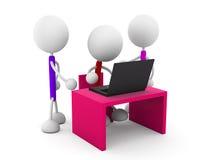 Communication. 3d render illustration.Desk with laptop Stock Images